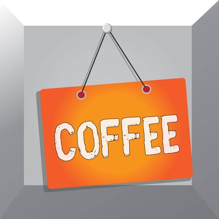 Conceptual hand writing showing Coffee. Concept meaning hot drink made from the roasted and ground seeds of a tropical shrub Memo reminder empty board attached background rectangle