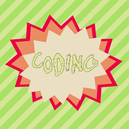Conceptual hand writing showing Coding. Concept meaning assigning code to something for classification identification Asymmetrical uneven shaped pattern object multicolour design