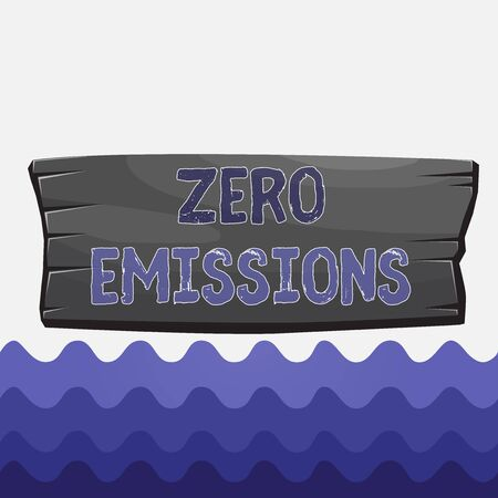 Conceptual hand writing showing Zero Emissions. Concept meaning emits no waste products that pollute the environment Wooden board rectangle shaped wood attached color background