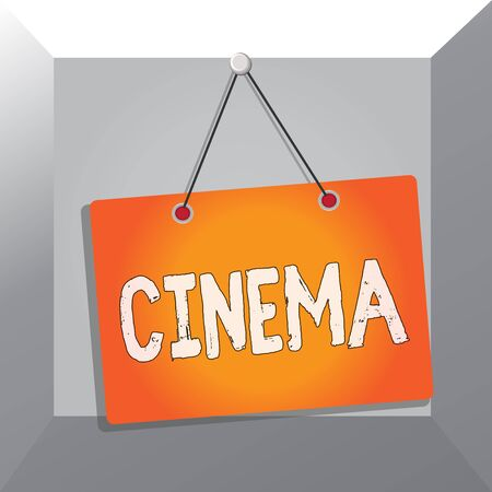 Conceptual hand writing showing Cinema. Concept meaning theater where movies are shown for public entertainment Movie theater Memo reminder empty board attached background rectangle