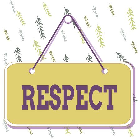 Handwriting text writing Respect. Conceptual photo Feeling of deep admiration for someone or something Appreciation Colored memo reminder empty board blank space attach background rectangle Stock Photo