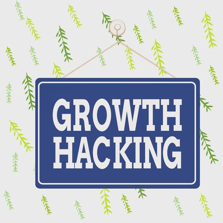 Handwriting text Growth Hacking. Conceptual photo activity of trying different methods to make a company larger Colored memo reminder empty board blank space attach background rectangle Stock fotó
