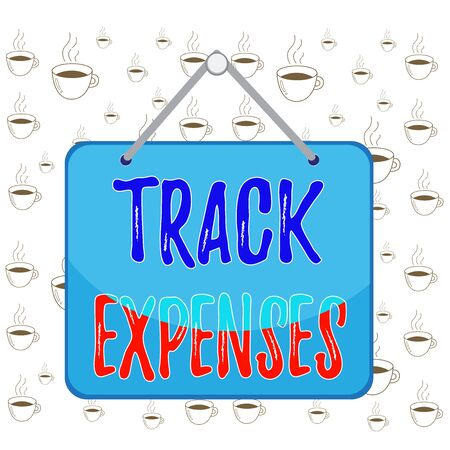 Writing note showing Track Expenses. Business concept for keep a close eye on how things are tracking to budget Memo reminder empty board attached background rectangle Stok Fotoğraf