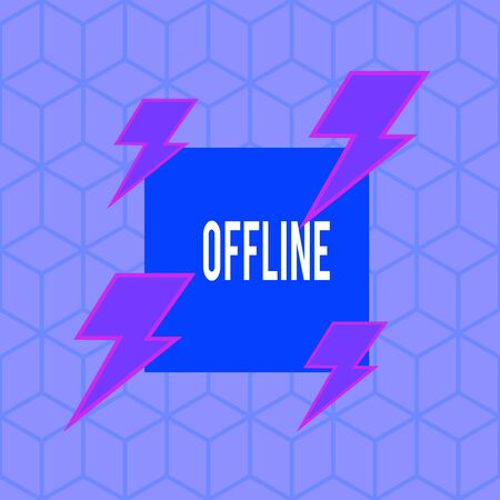 Writing note showing Offline. Business concept for Not having directly connected to a computer or external network Asymmetrical format pattern object outline multicolor design