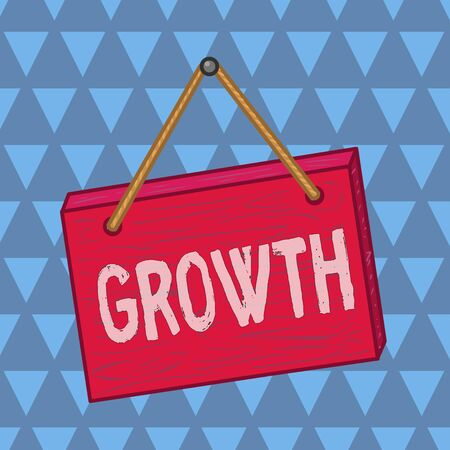 Text sign showing Growth. Business photo showcasing process of increasing in size or juice Getting older Ageing Square rectangle unreal cartoon wood wooden hang down on the coloured wall