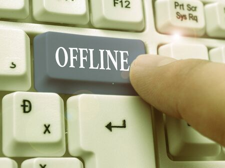 Conceptual hand writing showing Offline. Concept meaning Not having directly connected to a computer or external network Stock Photo