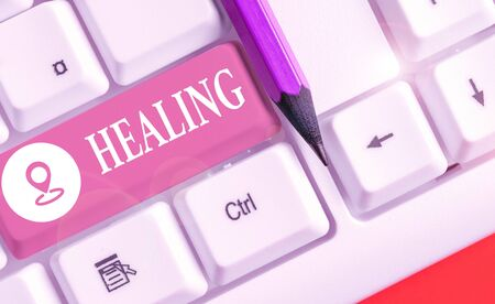 Text sign showing Healing. Business photo text process of making or becoming sound or healthy again Helping injured