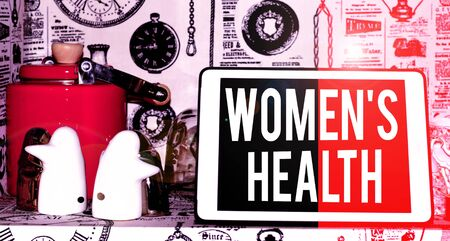 Text sign showing Women S Is Health. Business photo text the health issues specific to huanalysis anatomy Classic penguin ceramic and vintage teapot with modern gadget on display
