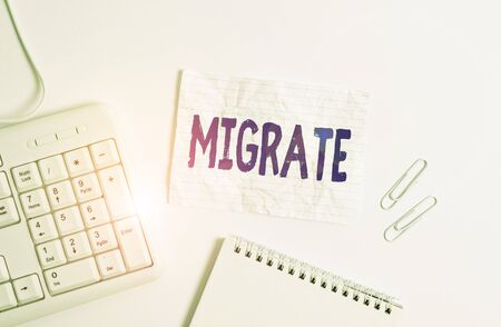 Handwriting text Migrate. Conceptual photo to move or travel from one country place or locality to another White pc keyboard with empty note paper above white background
