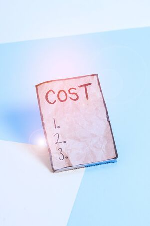 Writing note showing Cost. Business concept for The amount that usualy paid for a item you buy or hiring a demonstrating Paper on buffer wire on soft pastel multi colours backdrop