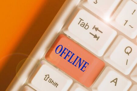 Writing note showing Offline. Business concept for Not having directly connected to a computer or external network