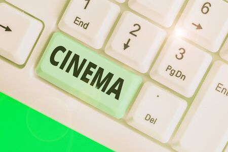 Conceptual hand writing showing Cinema. Concept meaning theater where movies are shown for public entertainment Movie theater Banco de Imagens