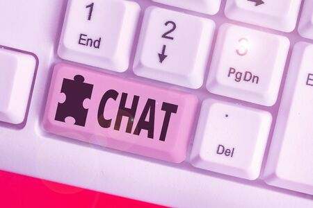 Text sign showing Chat. Business photo text take part in a discussion that involves sending messages over internet