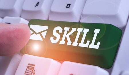 Writing note showing Skill. Business concept for ability to use one s is knowledge effectively and readily in execution