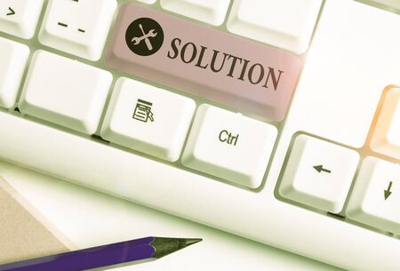 Conceptual hand writing showing Solution. Concept meaning a means of solving a problem or dealing with a difficult situation