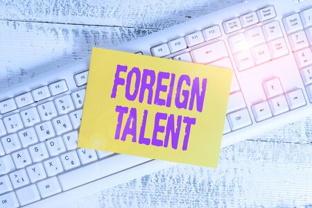Handwriting text Foreign Talent. Conceptual photo foreigners with professional qualifications or degrees White keyboard office supplies empty rectangle shaped paper reminder wood
