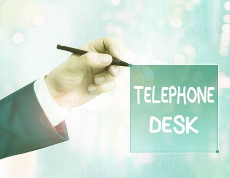 Conceptual hand writing showing Telephone Desk. Concept meaning provide a working surface enough to write notes while calling