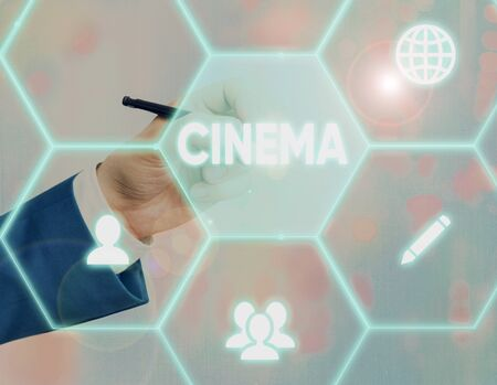 Text sign showing Cinema. Business photo showcasing theater where movies are shown for public entertainment Movie theater Banco de Imagens