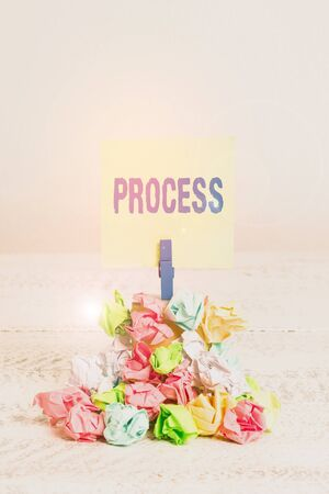 Word writing text Process. Business photo showcasing Standard procedures how to handle a particular job rules system Reminder pile colored crumpled paper clothespin reminder white wooden space