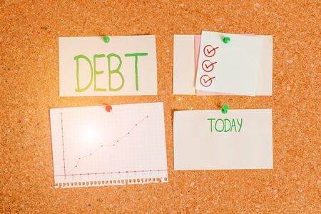 Handwriting text Debt. Conceptual photo a sum of money that a demonstrating or organization owes to someone or a bank Corkboard color size paper pin thumbtack tack sheet billboard notice board