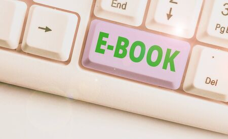 Handwriting text writing E Book. Conceptual photo electronic version of printed book which can read computer or tablet