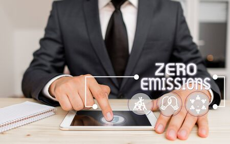 Text sign showing Zero Emissions. Business photo showcasing emits no waste products that pollute the environment