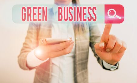 Text sign showing Green Business. Business photo showcasing company that does not make negative impact on the environment
