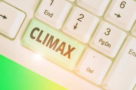 Conceptual hand writing showing Climax. Concept meaning the highest or most intense point in the development or resolution