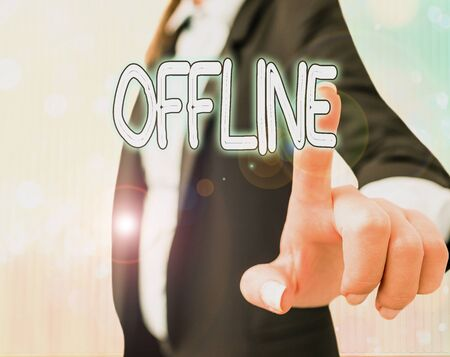 Text sign showing Offline. Business photo text Not having directly connected to a computer or external network
