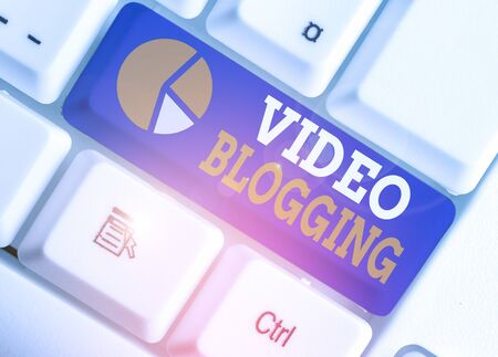 Word writing text Video Blogging. Business photo showcasing form of blog for which the medium is video Web television