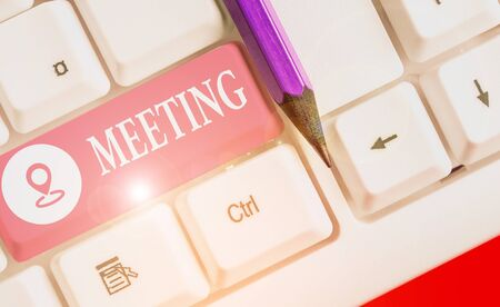 Text sign showing Meeting. Business photo text assembly of showing for a particular purpose or for formal discussion