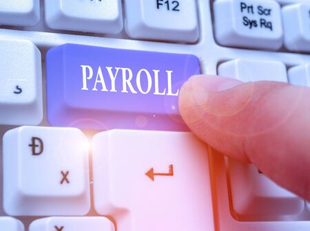 Conceptual hand writing showing Payroll. Concept meaning Total amount of money company pays to employees Salary Payment