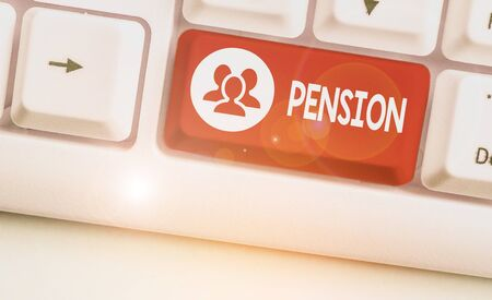 Conceptual hand writing showing Pension. Concept meaning Income seniors earn after retirement Saves for elderly years