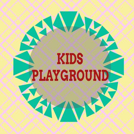 Writing note showing Kids Playground. Business concept for piece of land designed for children to play in outside Asymmetrical uneven shaped pattern object multicolour design Stock fotó