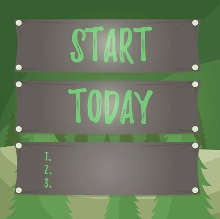 Word writing text Start Today. Business photo showcasing to begin doing something Make something begin by doing something Wooden panel attached nail colorful background rectangle lumber plank wood