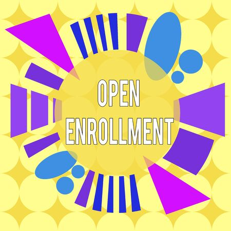 Conceptual hand writing showing Open Enrollment. Concept meaning policy of allowing qualifying students to enroll in school Asymmetrical format pattern object outline multicolor design Фото со стока