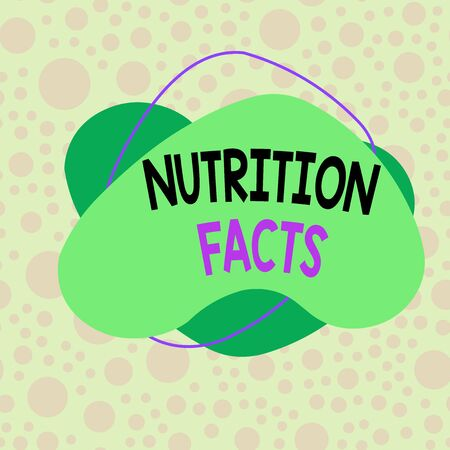 Conceptual hand writing showing Nutrition Facts. Concept meaning detailed information about a food s is nutrient content Asymmetrical format pattern object outline multicolor design