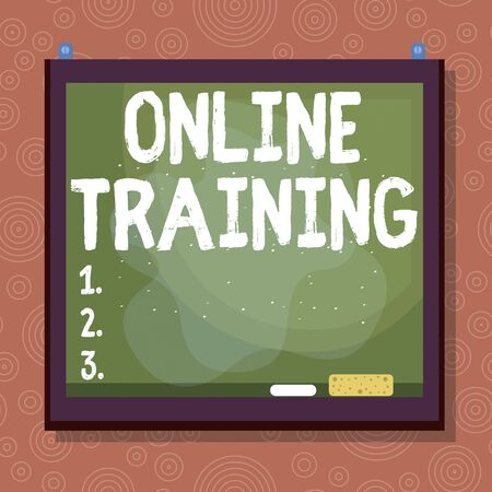 Handwriting text Online Training. Conceptual photo Computer based training Distance or electronic learning Asymmetrical uneven shaped format pattern object outline multicolour design