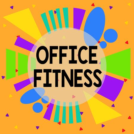 Handwriting text Office Fitness. Conceptual photo Encouraging fitness and balance lifestyle in the workplace Asymmetrical uneven shaped format pattern object outline multicolour design