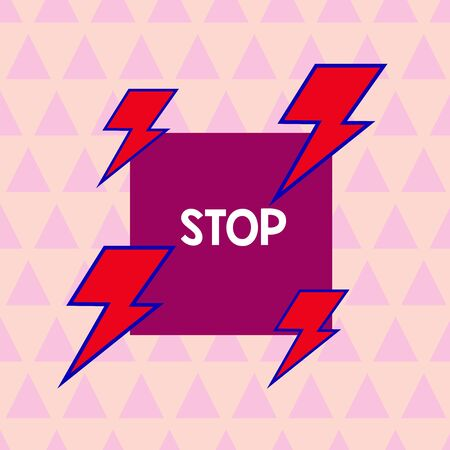 Text sign showing Stop. Business photo showcasing Come to an end Prevent Take action to an event from happening Asymmetrical uneven shaped format pattern object outline multicolour design