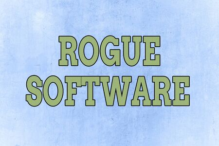 Writing note showing Rogue Software. Business concept for type of malware that poses as antimalware software Standard-Bild