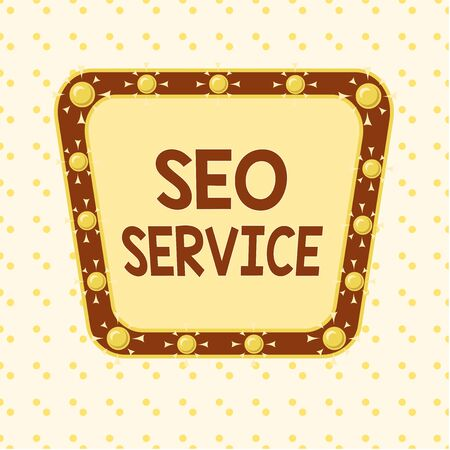 Word writing text Seo Service. Business photo showcasing suite of techniques and procedures to surge website visibility Asymmetrical uneven shaped format pattern object outline multicolour design 免版税图像