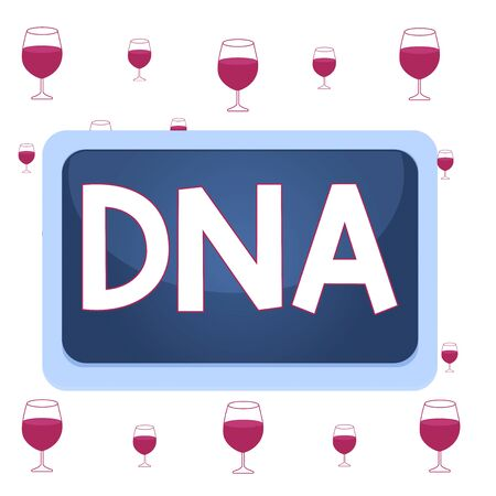 Text sign showing Dna. Business photo showcasing a selfreplicating material wpresent in nearly all living organisms Board rectangle white frame empty blank space fixed color surface plank Reklamní fotografie
