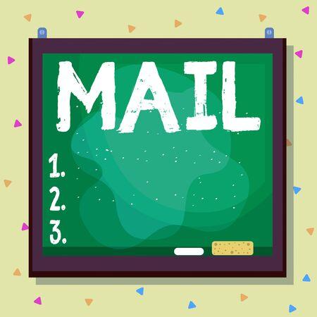 Écrit remarque montrant Mail. Concept d'entreprise pour les lettres ou les colis envoyés ou livrés au moyen du système postal de forme asymétrique asymétrique de l'objet design multicolore