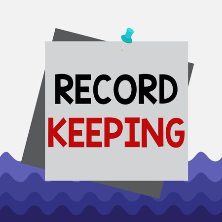Conceptual hand writing showing Record Keeping. Concept meaning The activity or occupation of keeping records or accounts Reminder color background thumbtack tack memo pin square Archivio Fotografico