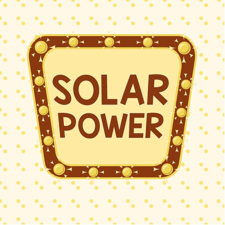 Word writing text Solar Power. Business photo showcasing the electricity produced by using the energy from the sun Asymmetrical uneven shaped format pattern object outline multicolour design