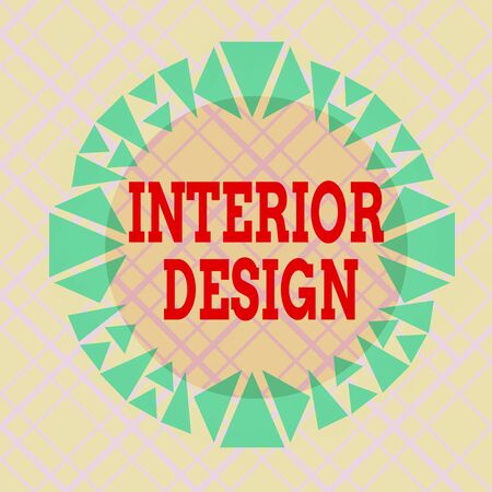 Writing note showing Interior Design. Business concept for the art of designing the interior decoration of a building Asymmetrical uneven shaped pattern object multicolour design Stock fotó