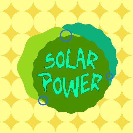 Conceptual hand writing showing Solar Power. Concept meaning the electricity produced by using the energy from the sun Asymmetrical format pattern object outline multicolor design Stock Photo