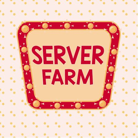 Word writing text Server Farm. Business photo showcasing a group of computers acting as servers and housed together Asymmetrical uneven shaped format pattern object outline multicolour design