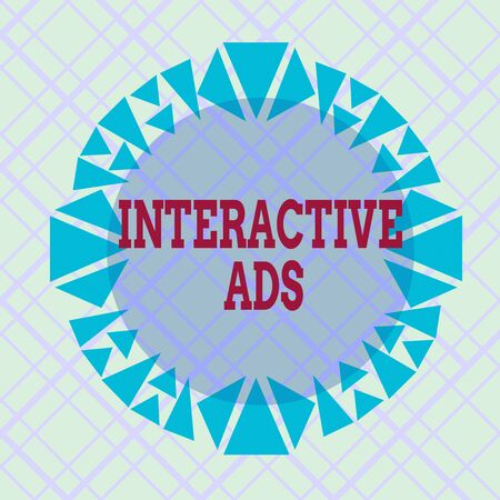 Writing note showing Interactive Ads. Business concept for uses interactive media to communicate with consumers Asymmetrical uneven shaped pattern object multicolour design Stockfoto